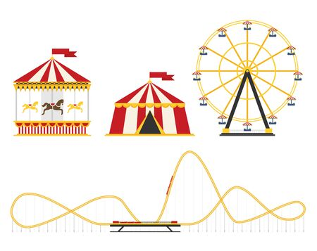 The amusement park elements set in the flat style. Circus, carousel, ferris wheel, roller coaster