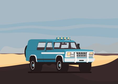 Flat design of car in motion on a safari trip.
