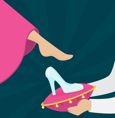 Women tries on the glass slipper vector flat