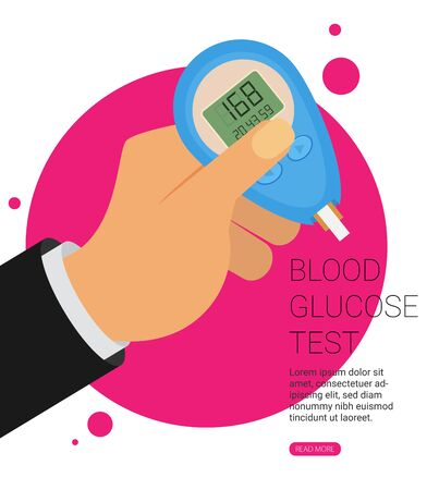 Blood Glucose Test. Home glucometer flat vector