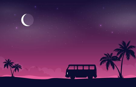 Flat vector banner with landscape. Background illustration Imagens - 129787552