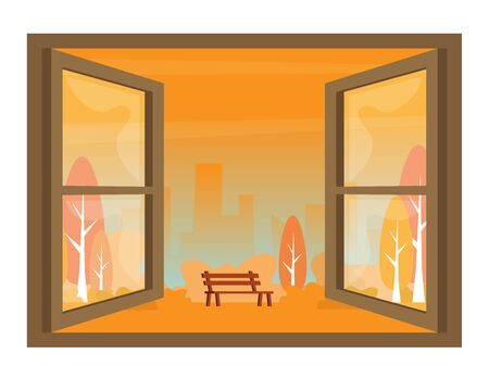 City view window background. Autumn view of the open window vector