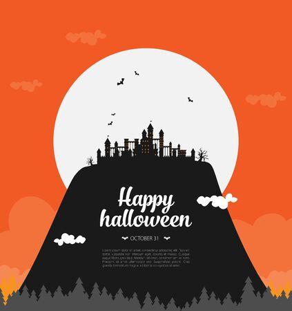 Halloween background flat design vector Stock fotó - 129787561