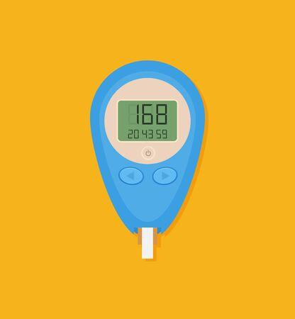 Blood Glucose Test. Home glucometer flat vector