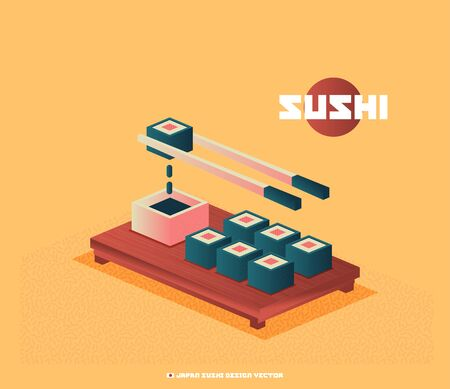 Food illustration - sushi roll with nori. Modern 3d flat design isometric concept. Imagens - 129787565