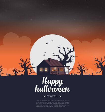 Halloween background flat design vector Stock fotó - 129787580