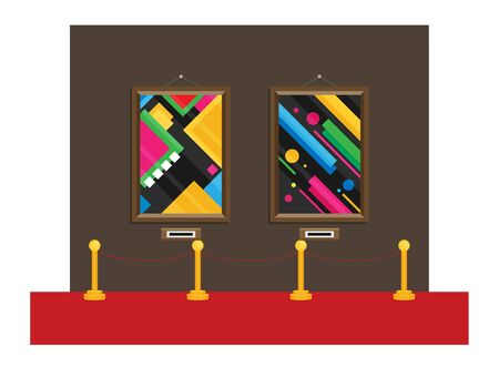 art gallery in the museum in flat style a vector Illustration