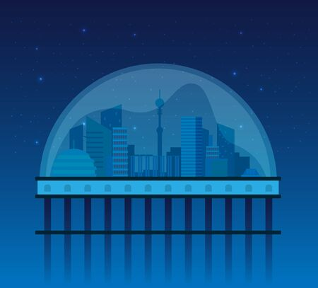 Night cityscape background with buildings, sky, stars.