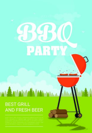 Barbecue. Flat style design - vector Ilustração