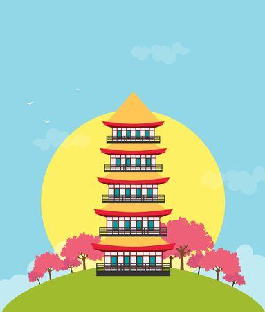 Flat design landscape of Japan illustration vector Imagens - 129787586