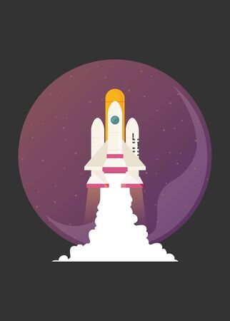 Flat vector illustration of a spaceship launch isolated on space background