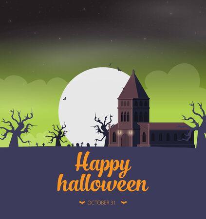 Halloween background flat design vector Imagens - 129787595