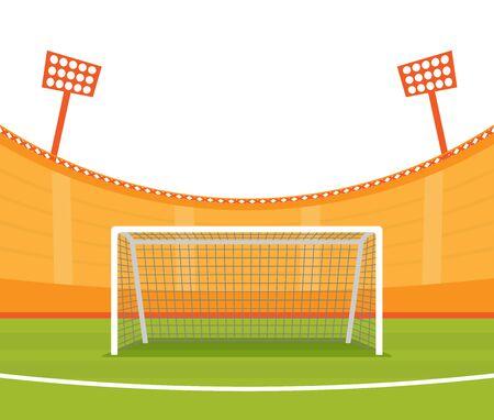 Background of football stadium vector flat design illustration.