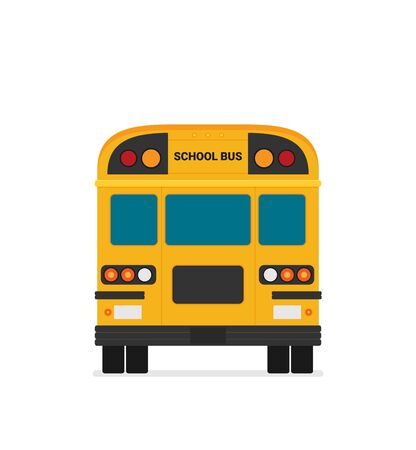 Yellow school bus back view flat illustration on background Banque d'images - 129787600