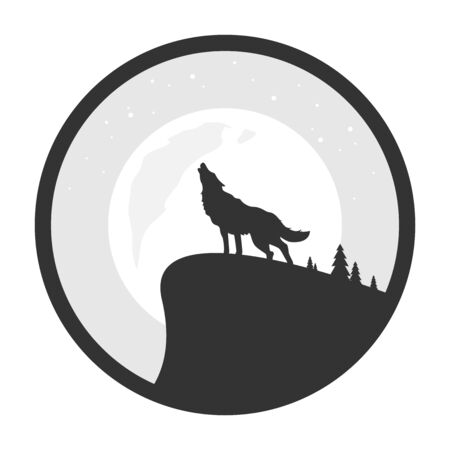 Wolf howls at night to the moon flat vector