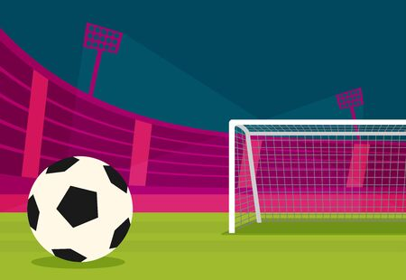 Background of football stadium vector flat design illustration. Imagens - 129787605