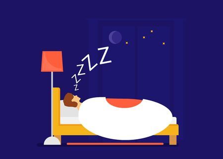 Vector concept of sleeping man. flat style Illustration