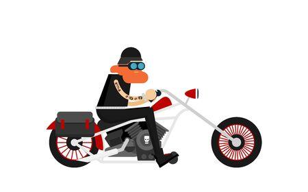 Flat vector classic motorcycle with brutal cartoon biker Imagens - 129787616