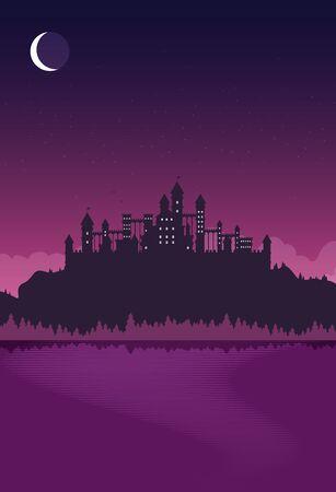 Magic fantasy castle - flat style illustration. Imagens - 129787618