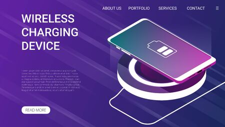 Smart phone on wireless charging device. Isometric vector illustration.