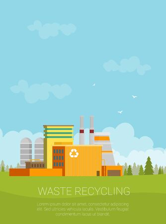 Waste Recycling Concept. Factory Building in Flat.