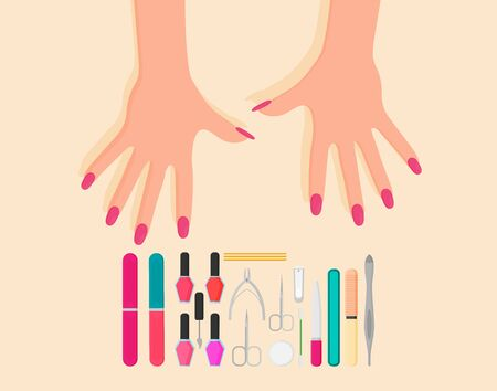 Professional manicure poster in flat style. Nails manicure or hands with manicure 写真素材 - 129787626
