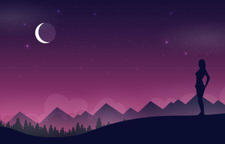 Flat vector banner with landscape. Background illustration