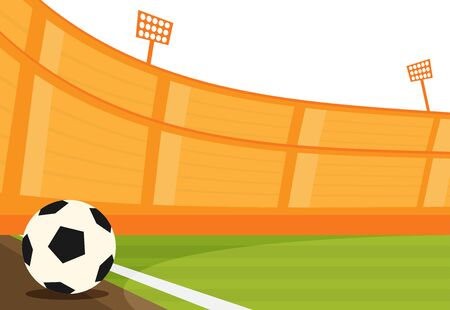 Background of football stadium vector flat design illustration. Imagens - 129787629