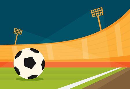 Background of football stadium vector flat design illustration. Imagens - 129787634