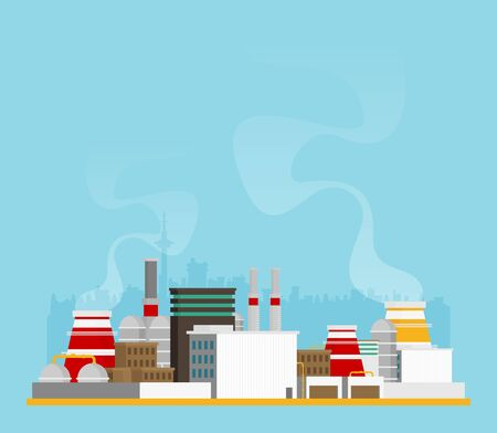 industry design buildings over background, vector illustration