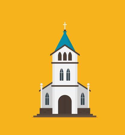 Płaski wektor kościoła chrześcijańskiego Ilustracje wektorowe