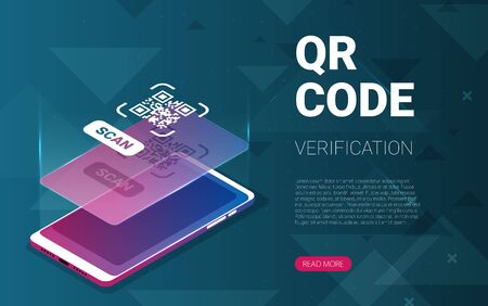 QR code verification service web banner isometric vector