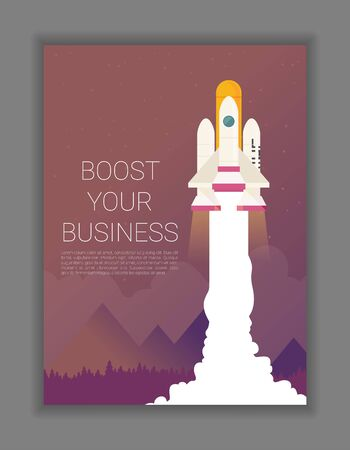 Space rocket flying in sky, flat design colored vector illustration