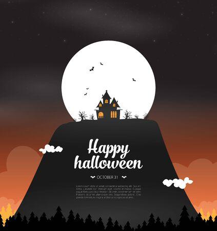 Halloween background flat design vector Imagens - 129787650