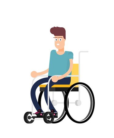 Man is sitting in a wheelchair on a white background. Vector illustration in a flat style Vectores