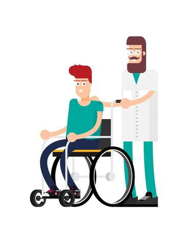 Man is sitting in a wheelchair on a white background. Vector illustration in a flat style Stock Illustratie