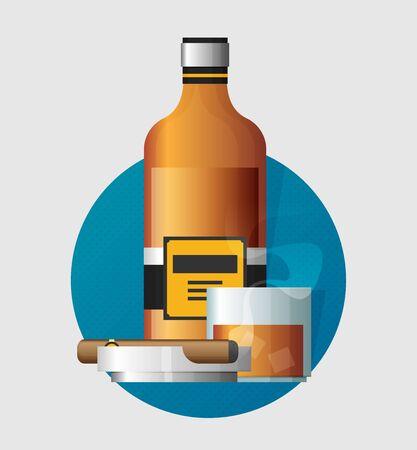 Flat vector bottle of whiskey colorful illustation. Ilustrace