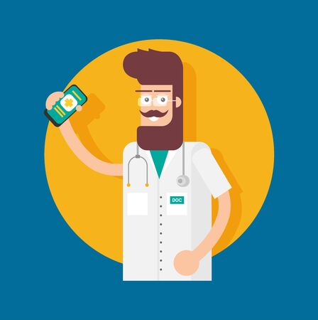 Doctor character in cartoon style. Vector flat design illustration