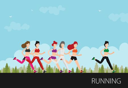 Running woman in motion.Training outdoor flat vector.