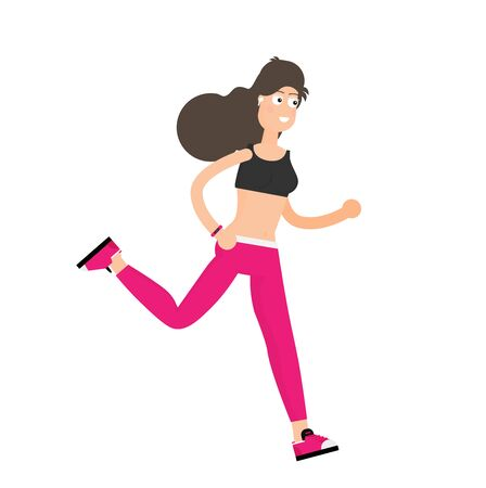 Running woman in motion.Training outdoor flat vector. 스톡 콘텐츠 - 131549827