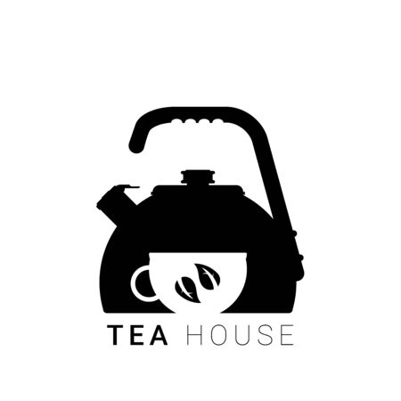 Flat vector kettle with cup and leaf