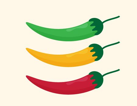 Illustration of food hot chilli pepper in flat minimalism style.
