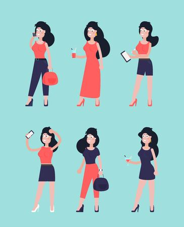 Young woman. Vector flat style cartoon illustration