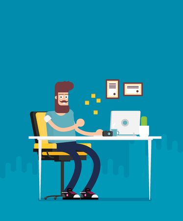 Office worker sitting and working at desktop computer in the flat style vector