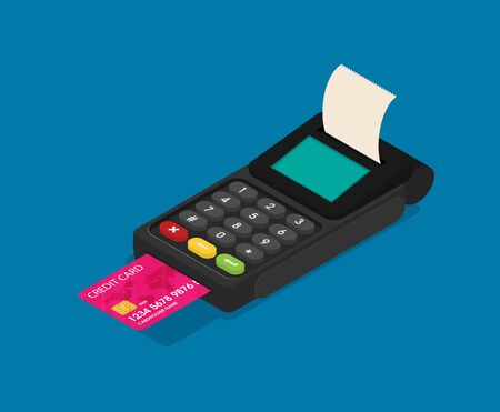 Cashbox Card Reader Vector Isometric Color Icon