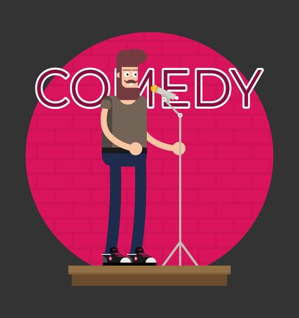 Comedian Doing Stand Up. Flat vector. Banque d'images - 130806010