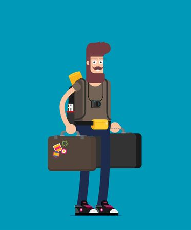 Holiday for people with travel bag. Flat vector Illustration
