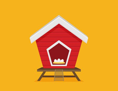Cartoon vector icon of bright red chicken coop, fresh eggs in the nest. Stock fotó - 131549801