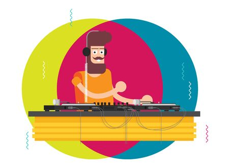 DJ character music. Musical entertainment. Flat vector illustration Иллюстрация