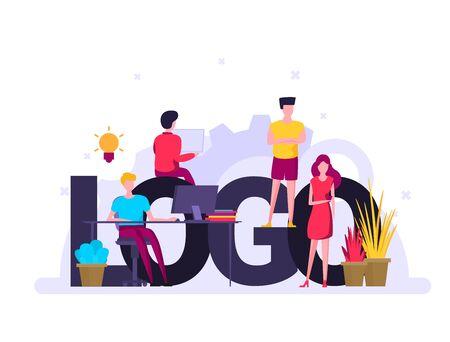 Logo creating. Colorful flat design icon. Vector illustration